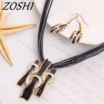ZOSHI Women Jewelry Set Gold Color Fashion Necklace Earring Black Multilayer Rope Chain Costume Woman Wedding Accessories