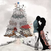 Large wall art, Love couple paintings, Christmas tree art, Kissing couple, Canvas art