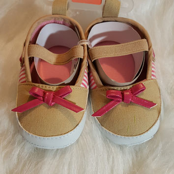 Baby girl boat shoes, slip on, tan/pink/white