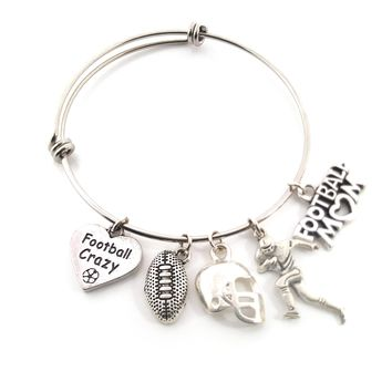 Football Mom Bracelet - Sports Athlete Adjustable Bangle - Birthstone Bracelet - Personalized Jewelry - Gift For Her