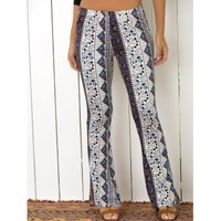 High Waist Tribal Geometric Print Flare Pants (COLORMIX,S) in Pants | DressLily.com