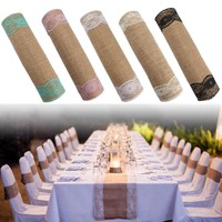 30x270cm Vintage Burlap Lace Hessian Table Runner Natural Jute Country Party Wedding Decoration
