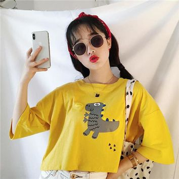 Summer women's crop tops Harajuku kawaii casual o-neck cartoon dinosaur short paragraph loose short-sleeved T-shirt female