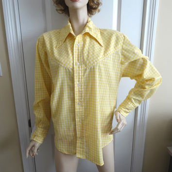 1970s Vintage Home Sewn Men's Square Dance Western Shirt in Yellow Gingham, Size Large, 1/4 Inch Checks, Vintage Costume, Vintage Clothing