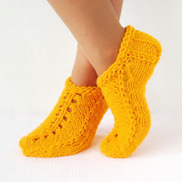 Slippers  Knit.  YELLOW Slippers House slippers Handmade Knitted  Wool Slippers Hand Knit Booties Winter Slippers Сozy