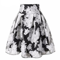 Summer Spring 2016 New Fashion Elegant Organza Big Swing Pleated Skirts For Women Girl In Black Beige Size S- XL