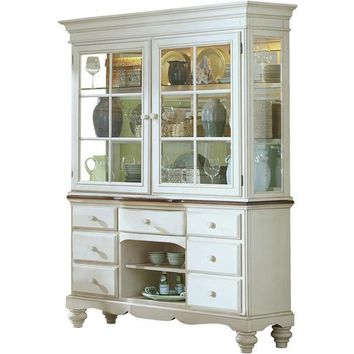5265 Pine Island Buffet and Hutch - Old White Finish Duplicated