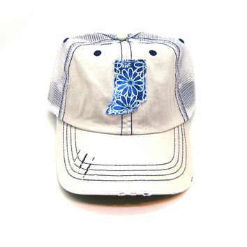 Indiana Trucker Hat - Distressed - Floral Fabric State Cutout