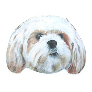 Shih Tzu Puppy Dog Head Shaped Animal Themed Vinyl Clutch Bag | Handmade
