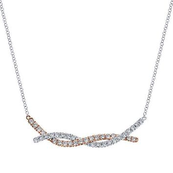 Two-tone 1/2cttw Twisted Bar Diamond Fashion Necklace
