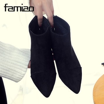 2017 Spring Autumn Woman Boots Fashion British Style Ladies Shoes Flats Heels Ankle Boots for Women