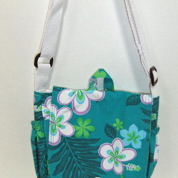 Hawaiian fabric messenger bag - crossover purse - crossbody bag with lots of pockets