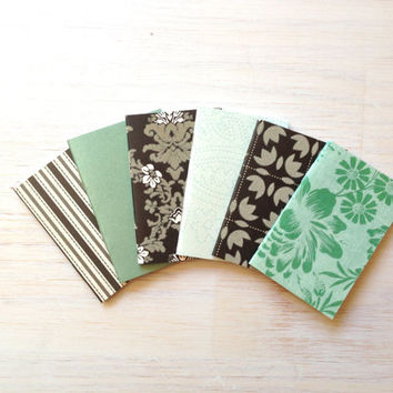 Notebooks: 6 Tiny Journals Set, Teal, Black and White, Party Favors, Wedding, For Her, Journals, Jotters, Mini Journals, Small - Set of 6