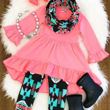 CORAL AZTEC HI-LOW TUNIC SCARF SET