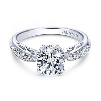 14K White Gold 1.12cttw Bead Set Engagement Ring with Double Claw Prong Head