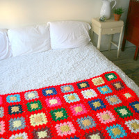 Vintage Bright Red Granny Square Throw