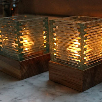 Locally salvaged ELM tea light holders with by TheDesignPallet