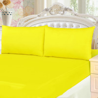 Tache 3 Piece Lemon Drop Yellow Bed sheet Set (Full) (Fitted Sheet)