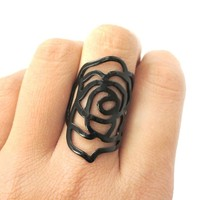 Large Classic Floral Rose Dye Cut Shaped Ring in Black   DOTOLY