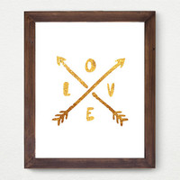 Love Arrows Gold Faux Foil Matte Art Print - Gold Office Decor - Girly Minimalist Art, Room Decor,  Great Gift Card Idea