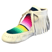 Warrior Serape Print Leather Moccasins