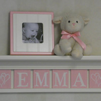 """Personalized Children Nursery Decor 24""""Shelf with 6 Letter Wooden Tiles Painted Light Pink Custom - EMMA with Hearts Baby Girl Shower Gift"""