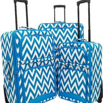 Three piece Luggage Set. Chevron Print in Lime or Cranberry