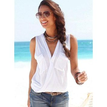 Summer 2018 Cotton Sexy Beautiful V-Neck Blouse