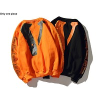 VLONE hot fashion couple casual printed round-collared long-sleeved hoodie