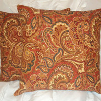 "Pillow Covers 16"" Set of Two - Rust Colored Paisley Pattern"