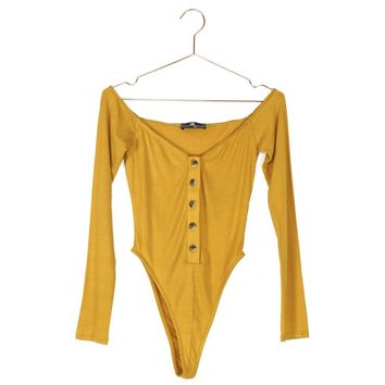 Long Sleeve Button Up Rib Knit Bodysuit