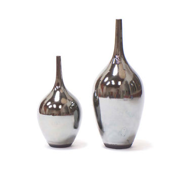SECONDS SALE~ 2 Medium Teardrop Bottles in Silvertone Metallic Glaze by Sara Paloma Pottery