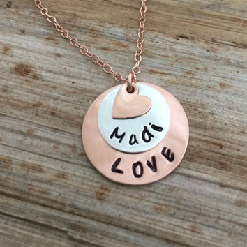 Personalized Engraved Rose Gold Sterling Silver Custom Chlld Name Pendant Necklace - Heart Charm - Mommy Grammy Mimi Gift, Kid Children