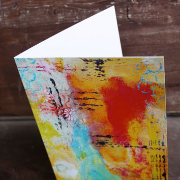 """Mixed Media Abstract 5""""x7"""" Blank Greeting Card with Envelope, Mixed Media Art, Stationary, All Occasion Card, Wholesale Cards"""