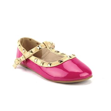 Toddler & Little Girls Kids Dolly-36 T-Strap Studded Mary Jane Flats