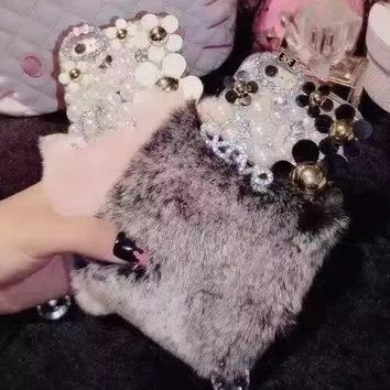 Hot Luxury Real Rabbit Fur Rhinestone Case Fur Furry Warm Winter Bling Soft Back Phone Case Cover for iphone 7 7Plus 6 6S Plus