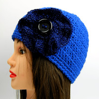 Crochet hat with glitter flower, Adult beanie, Glittery winter Hat, Womens beanie, Beanie with button