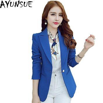 AYUNSUE 2016 Hot Sale Blazer Women Summer Autumn Slim Thin Short Women Suits Casual Solid Single Button Female Balzer LX86