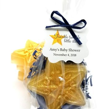 Gold Navy Star Soap Baby Shower Favors with Twinkle Twinkle Little Star Tags