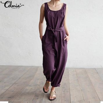 Celmia Women Jumpsuit 2018 Summer Trouser Office Work Harem Pants Sleeveless Rompers Elegant Casual Linen Overalls Palazzo 5XL