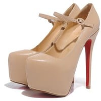 Red-soled shoes 16CM nude color sheepskin thin with the shoes cl high heels