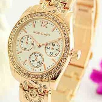 MK Fashion Trendy Elegant Quartz Watch for Men and Women F-Fushida-8899 rose gold