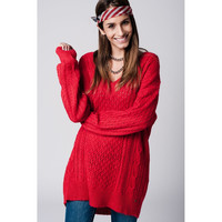 Red sweater dress with Long Sleeves and v-neck
