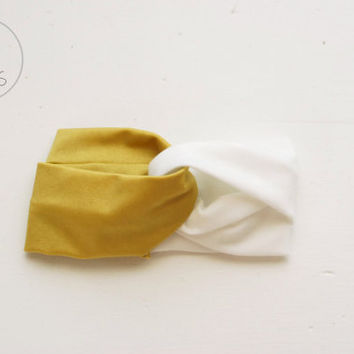 2 Coloured Baby Turban Headband Mustard Yellow Baby Headband Toddler Headband