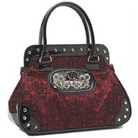 Rock Rebel Brocade Lace Black and Wine Red Vegan Handbag Purse