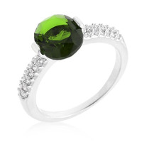Green Oval Cubic Zirconia Engagement Ring, size : 06