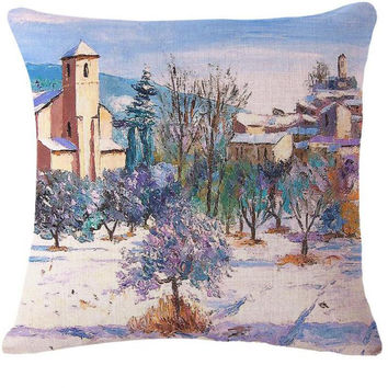 Factory Direct Selling Hand Painted Pastoral Style Flowers Cotton Linen Throw Pillow Room Decor Sofa Bedside Back Cushion