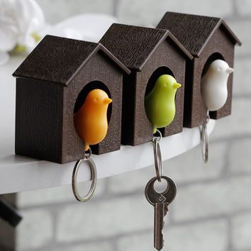 fashion jewelry Whistle Bird House couple keychains Wall Mount Hook Holder Plastic Sparrow Key chain keychain for the keys
