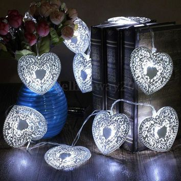 ONETOW 10 LED heart shape Cool White Metal Love Heart Wedding Party  Festival Halloween String Fairy Light  Indoor Outdoor Decor Metal