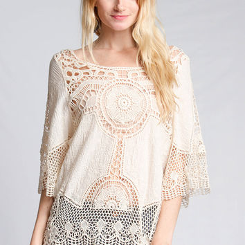 It Ain't My Fault Lace Top - Cream